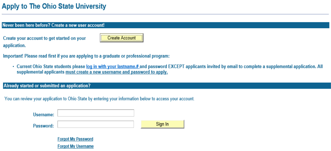 Ohio State Application Start Page